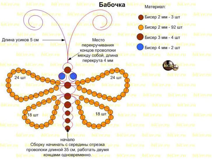 Бабочка из бисера: схема